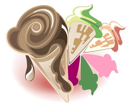 A set of different kinds of ice cream cones