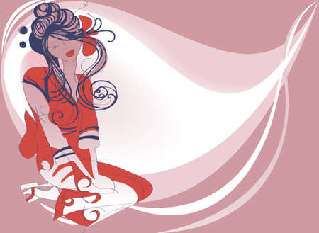 The young Japanese dancer is depicted sitting on a background of decorative stain Vector