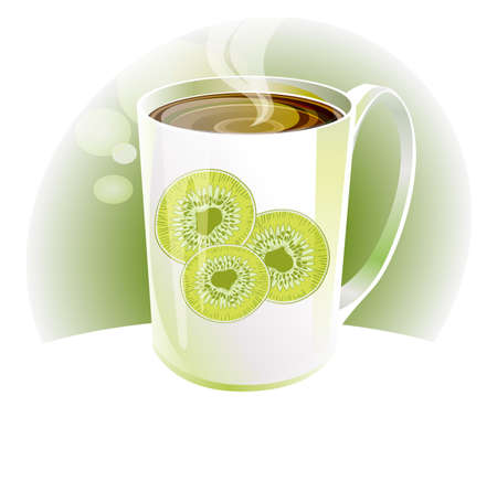 hot Kiwi tea in white porcelain cup with a light background Vector