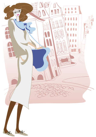 Young woman on the street of the ancient city Vector