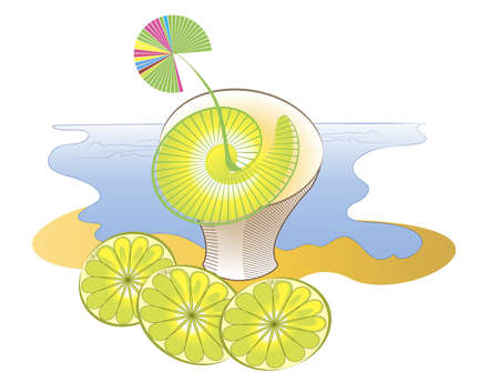 Graphic image of lemon Muffin on a background  of summer seascape