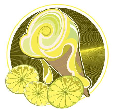 lemon ice-cream cone on a decorative background Stock Vector - 14862940