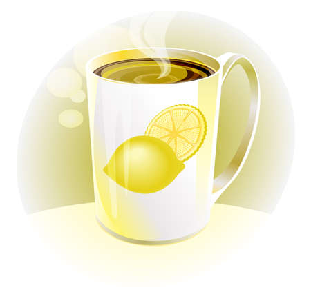 hot lemon tea in white porcelain cup with a light background Vector