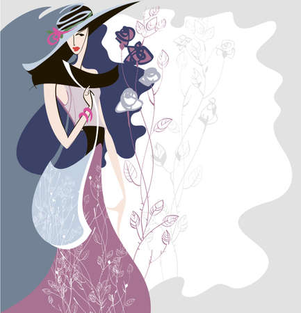Silhouette of a girl who shows the clothes in retro style with a decorative background