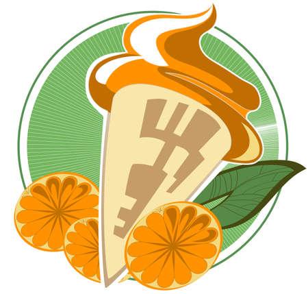 Orange ice cream cone on a decorative background Stock Vector - 14862904