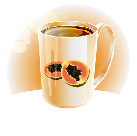 hot papaya tea in white porcelain cup with a light background Vector