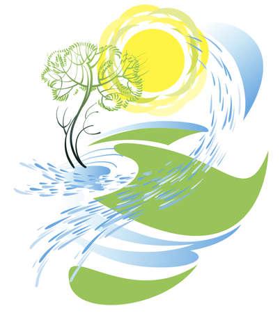 bach: Fr�hlingslandschaft, Spritzer von strahlendem Sonnenschein und Bach