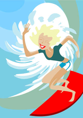 Surfer - girl is on the crest of a wave Vector