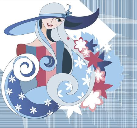 Graphic portrait of a girl wearing a hat in the blue textile background