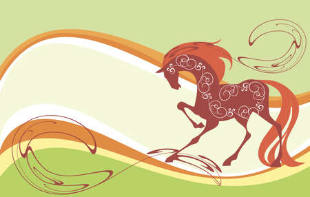 Silhouette of a thoroughbred racehorse in the decorative background Vector