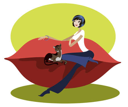 Black-haired girl sitting on a red sofa designer along with her cat Illustration