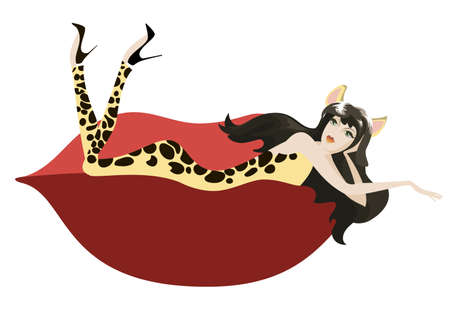Girl in a suit with a leopard print is a red designer sofa Vector