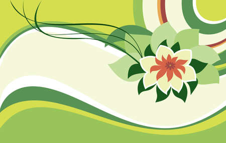 Pink lotus flower on a green background Vector