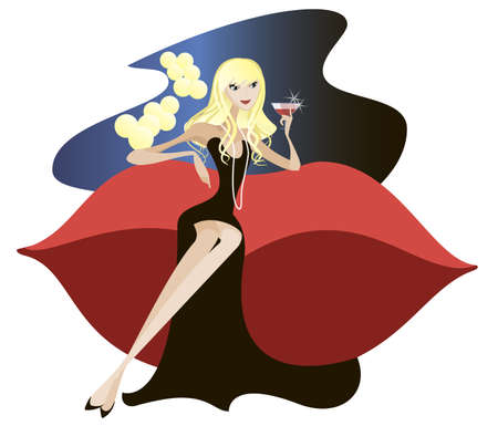 A girl in a black evening gown sitting on sofa designer and holds a glass of champagne in her hand Illustration