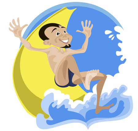 water park: A young man cheerfully descends of a water slides at a water park Illustration