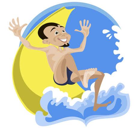 rutsche: Ein junger Mann munter steigt einer Wasserrutsche in einem Wasserpark Illustration