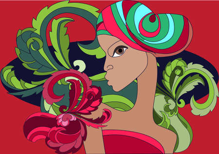 Profile of African girl against the background of lush exotic  flowers Vector