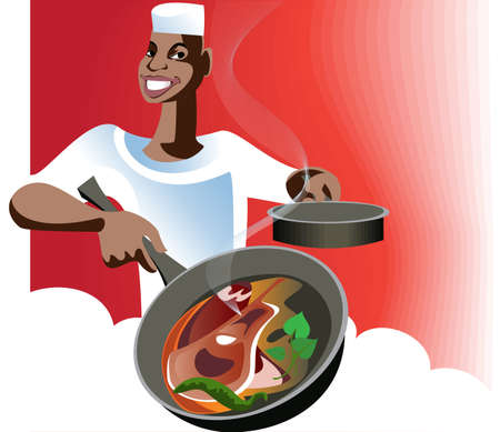 A cook roasts meat for the traditional Eastern festive dishes  Illustration