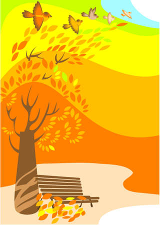 The bench  garden costs under a lonely tree in park   autumnal. Vector