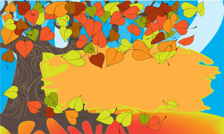 Bright autumn foliage flies from an old tree Illustration