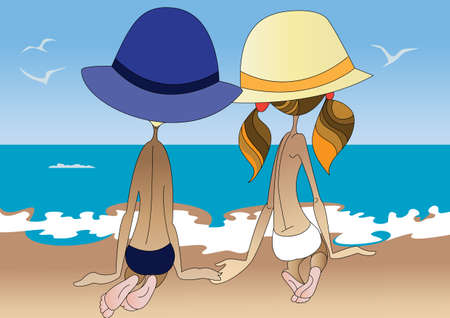Little boy and a girl admiring the seascape on the beach Vector