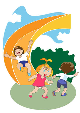 Group of preschool-age children ride the slide on the playground Vector