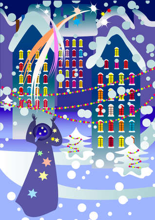 A man, dressed as a magician, turned on the lights of fireworks over the city on Christmas night Vector