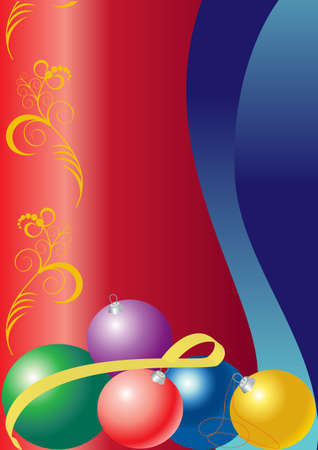 holy place: Several bright balloons for the Christmas tree lying on a  silk redribbons Illustration