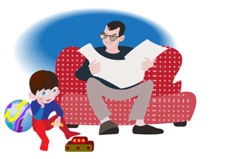 The little boy misses alone, while his father reads the  newspaper Vector