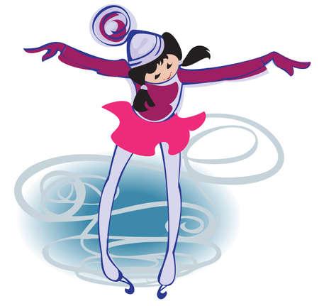 Ein kleines Mädchen lernt, für Eiskunstlaufschuh