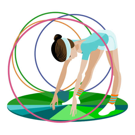 hulahoop:  The young gymnast is in  training with hoops Illustration