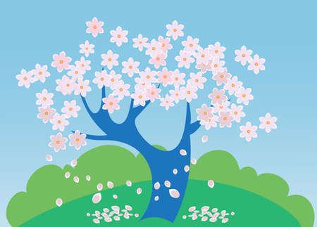 Frühling Landschaft mit einem Baum in voller Blüte, und ein Feld.