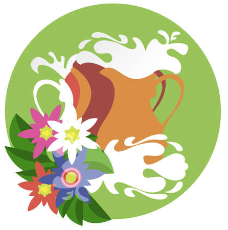 Decorative image of four jugs filled with fresh milk Vector