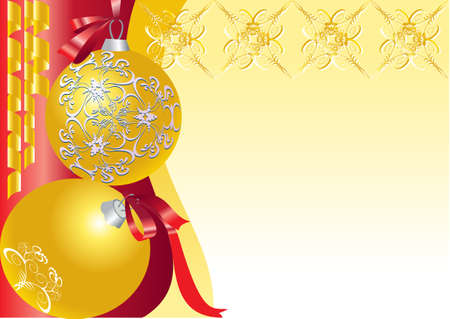 There are two  balls decorative gold on a red background