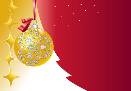 There are  ball and garland golden decorative  on the background of a  Christmos tree stylized Vector