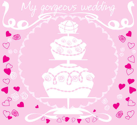 White silhouette of a large wedding cake on a pink background