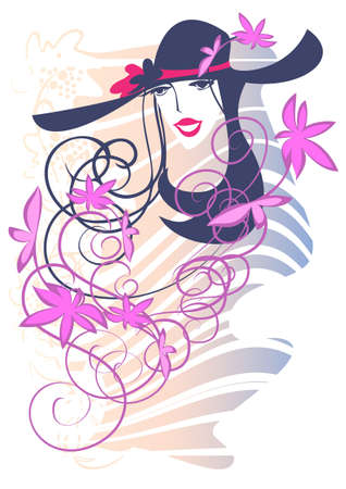 Portrait of a young woman  a hat with a flower on an abstract  background Illustration