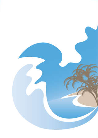 High wave ocean surf on a tropical island Vector