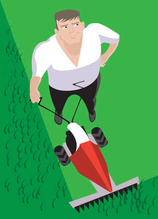 push mower: A very positive man mows the grass on the lawn in front of his  house Illustration