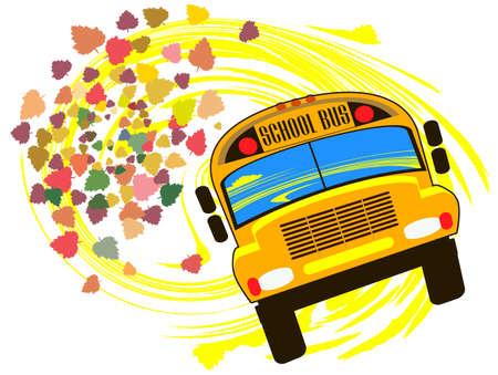 niños saliendo de la escuela: Autobús escolar contra el telón de fondo de las hojas de otoño cayendo