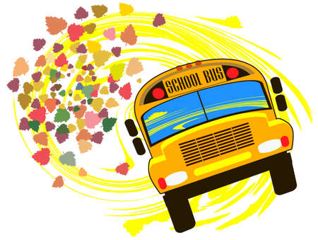 leaving: School bus against the backdrop of autumn leaves falling
