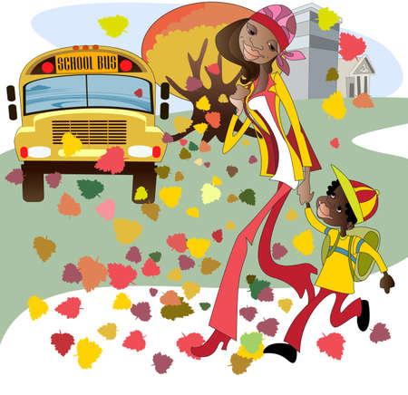 niños saliendo de la escuela: Mamá acompañantes hijo a un autobús escolar