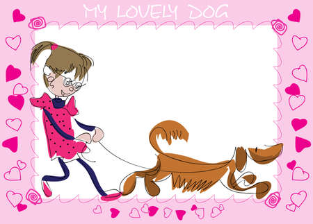 Postcard from the comic image of a girl with a puppy