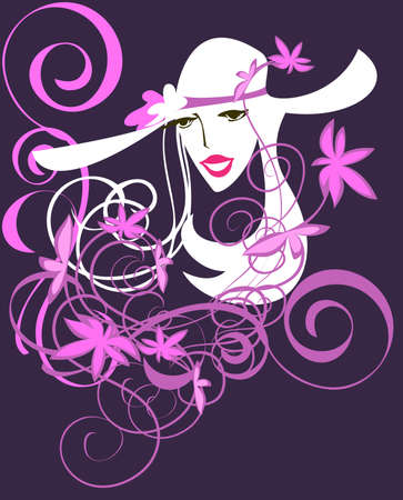 White silhouette of a young woman in a hat on purple background Vector