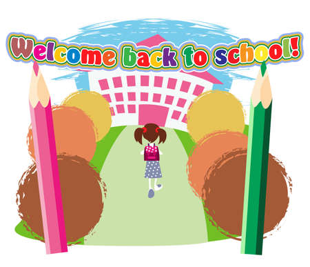 Little schoolgirl with satchel goes to the school entrance Vector