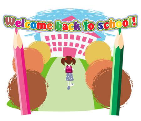 Petite écolière avec sacoche va à l'entrée de l'école