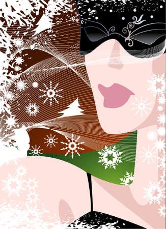 Portrait of ladies elegant ladies in glasses carnival glasses against snow Illusztráció