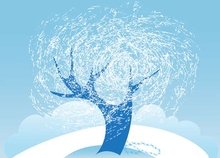 Lonely tree in frost is in the middle of a snow-covered meadow Stock Vector - 14863056