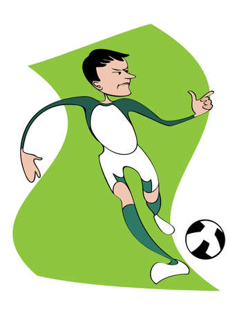 Exaggerated figure of a football player, running across the  field with the ball Vector
