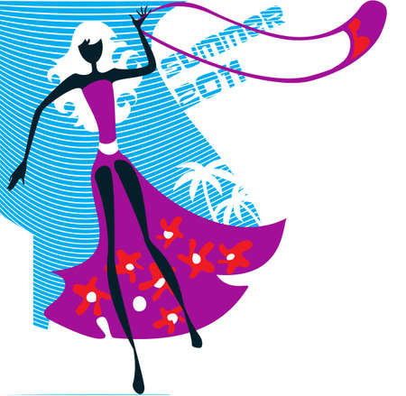 silhouette of a slender young woman on a decorative background,  showing a fashionable summer suit
